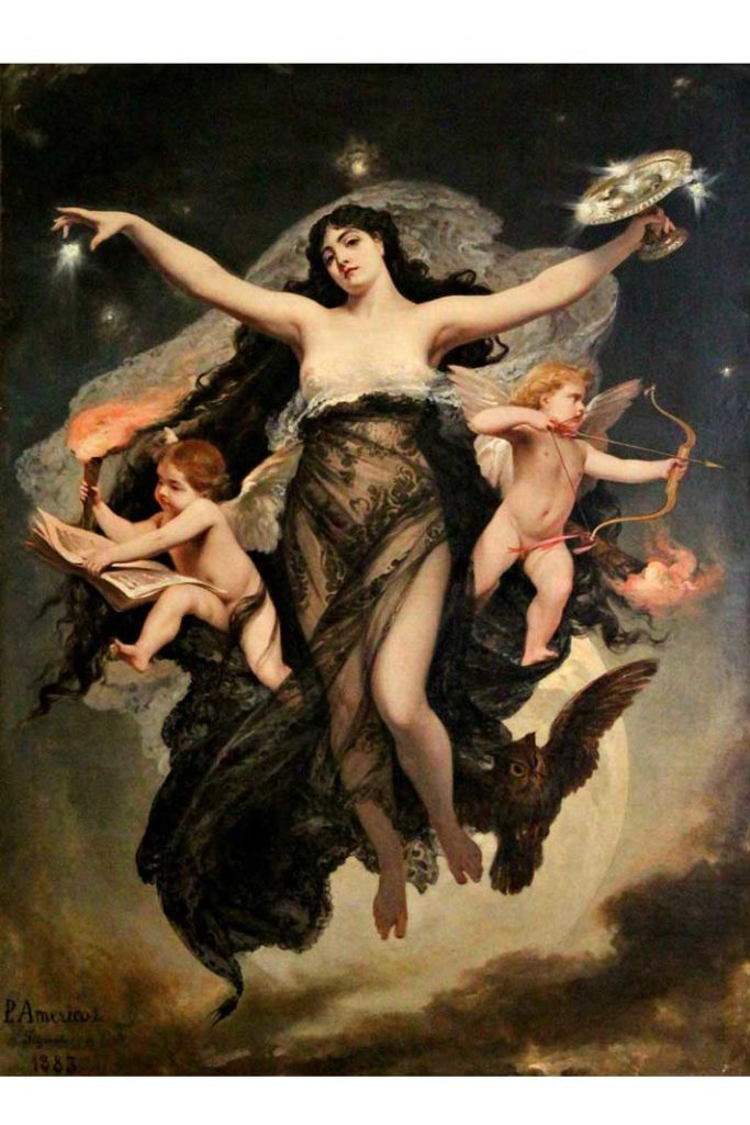 The Night Escorted by the Geniuses of Love and Study 1886 by Pedro Américo