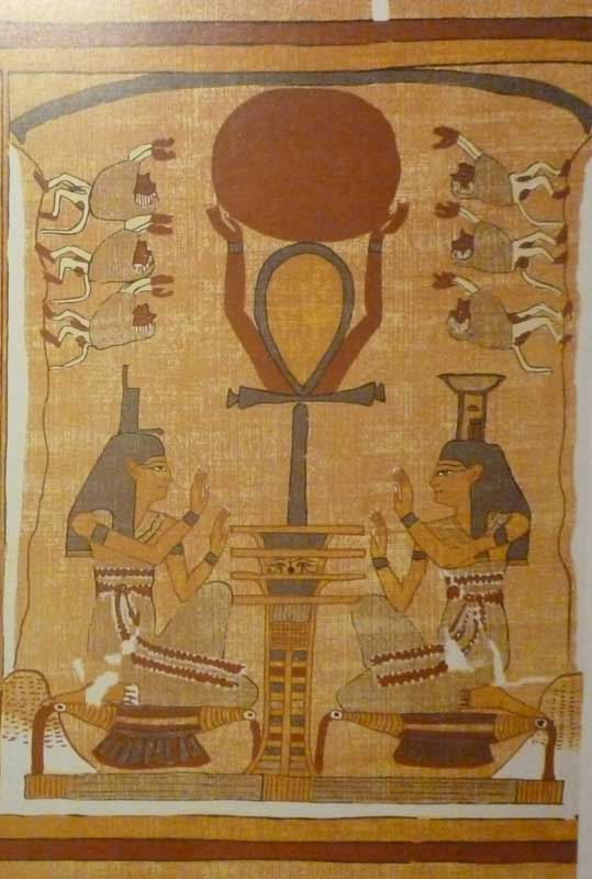 Goddess Isis, Goddess Nephthys and God Thoth with the Ankh