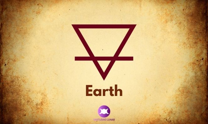 Earth is a triangle facing downwards with a dash